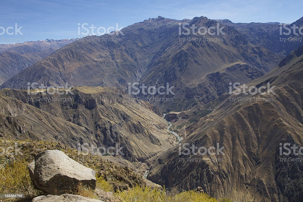 Panoramic view on Colca Canyon royalty-free stock photo