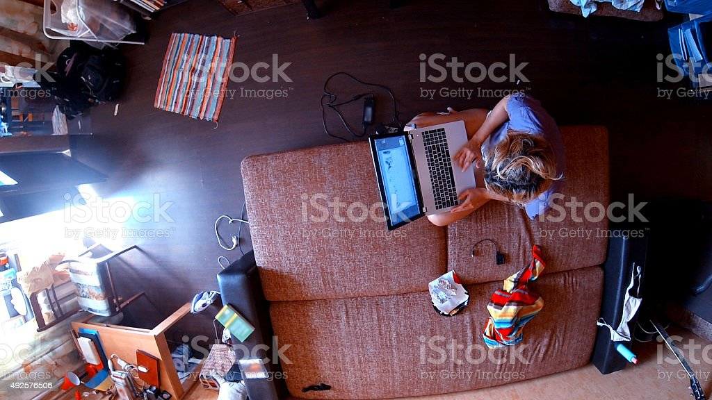 panoramic view on contemporary freelancer's living room stock photo