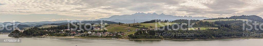 Panoramic view on Czorsztynski lake, Poland. stock photo