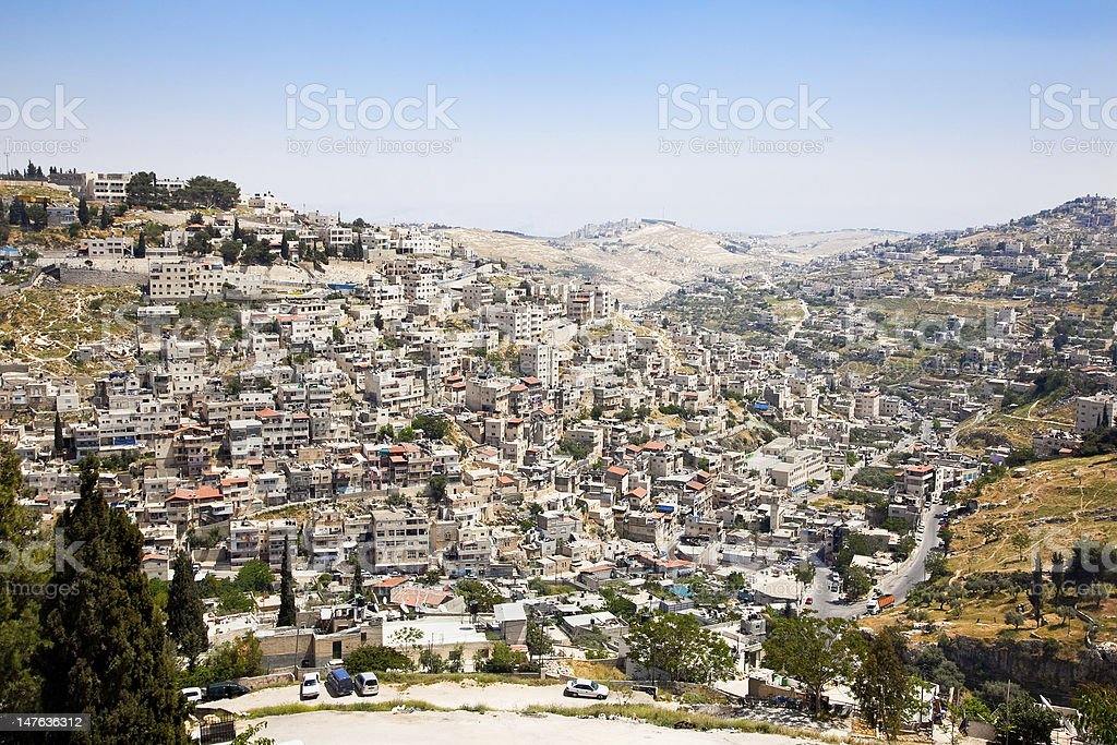 Panoramic view on East-Jerusalem and  Mount of Olives royalty-free stock photo