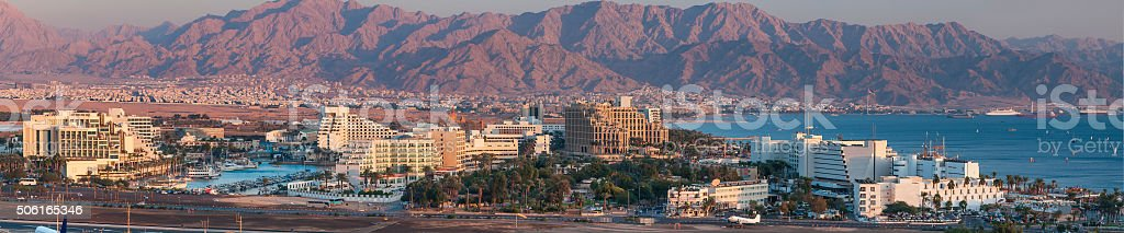 Panoramic view on Eilat and the Gulf of Aqaba stock photo