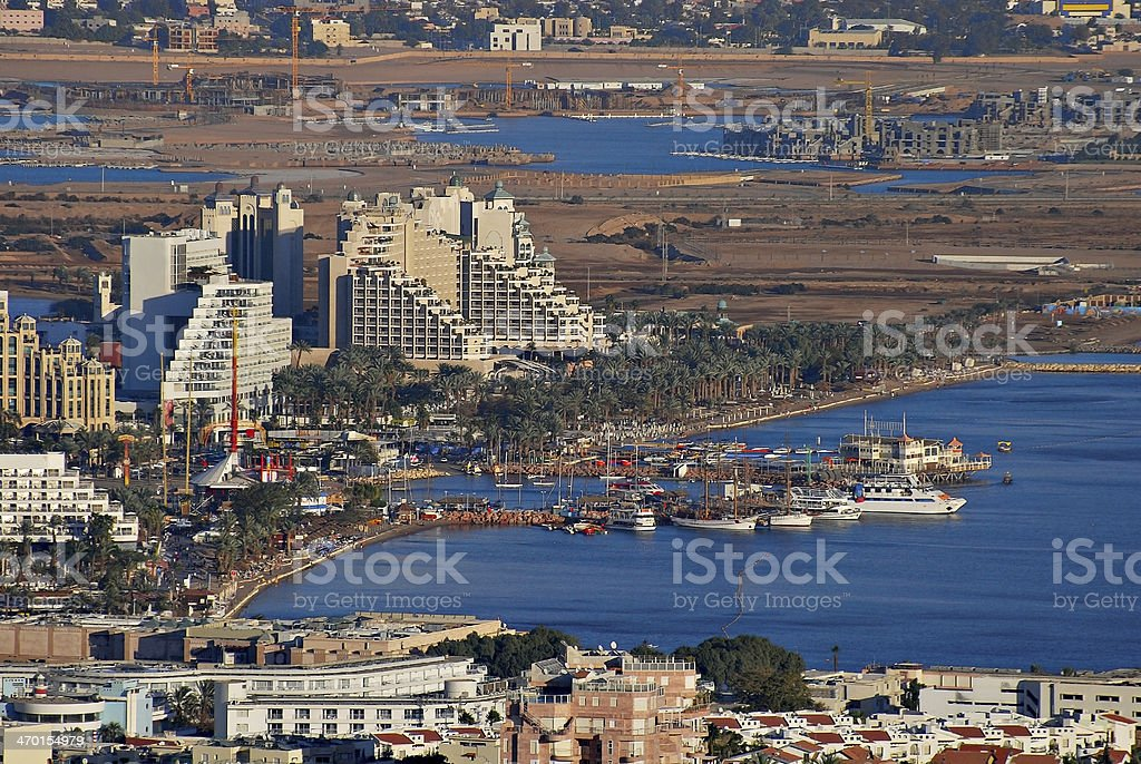 Panoramic view on Eilat from surrounding hills stock photo