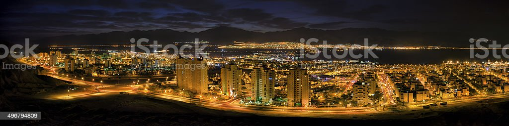 Panoramic view on Eilat from surrounding hills royalty-free stock photo