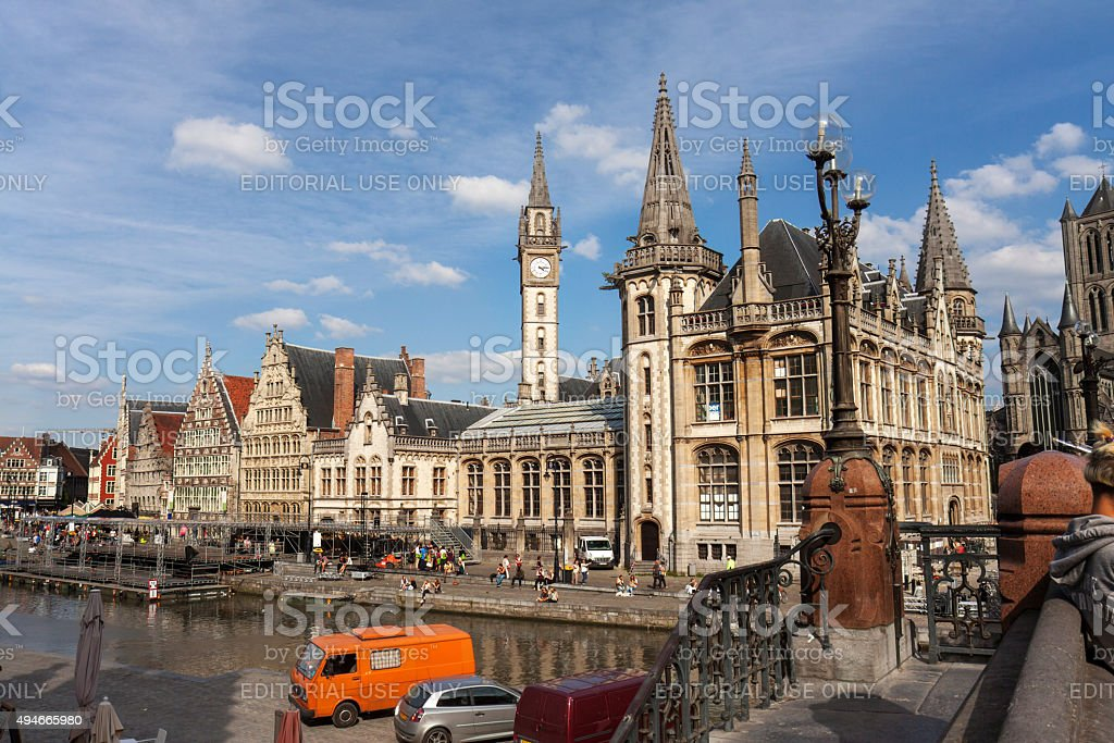 Panoramic view on Graslei, Ghent stock photo