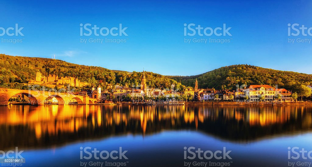 Panoramic view on Heidelberg at sunset stock photo