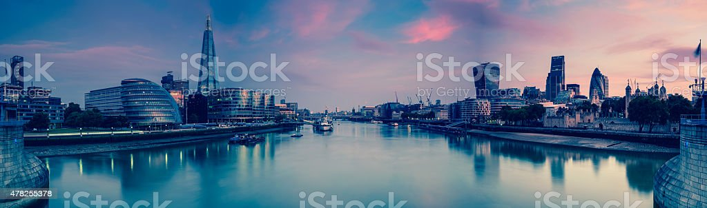 Panoramic view on London and Thames at twilight stock photo
