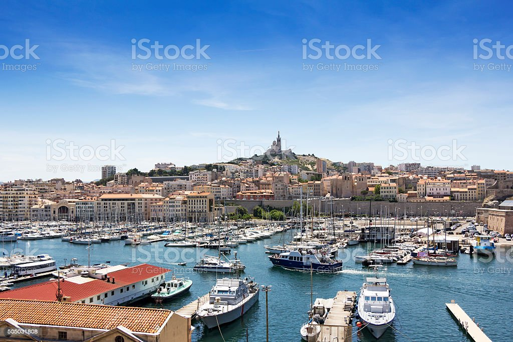 Panoramic view on Marseille, France stock photo