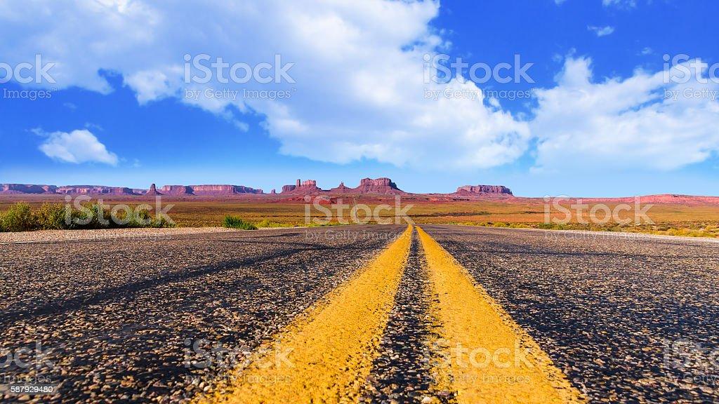 Panoramic view on monument valley in Arizona and Utah stock photo