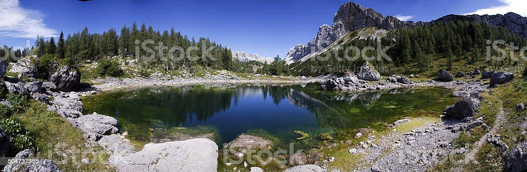 Panoramic view on mountain lake royalty-free stock photo