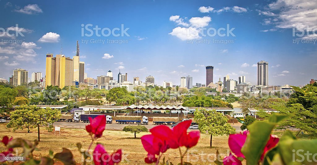 Panoramic view on Nairobi , Kenia. stock photo
