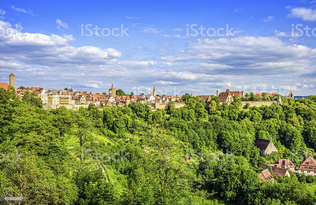 Panoramic view on Rothenburg o.d Tauber stock photo