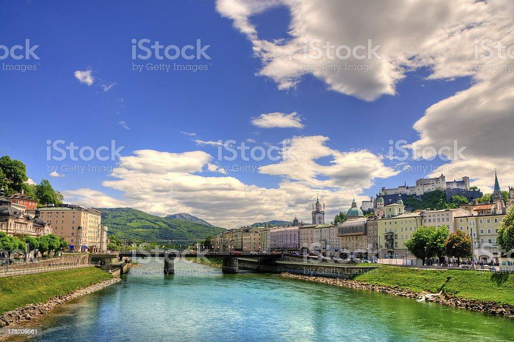 Panoramic View on Salzburg, Austria stock photo