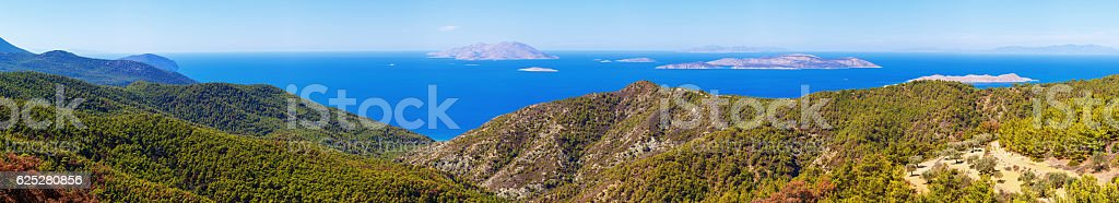 Panoramic view on  sea from Rhodes island stock photo