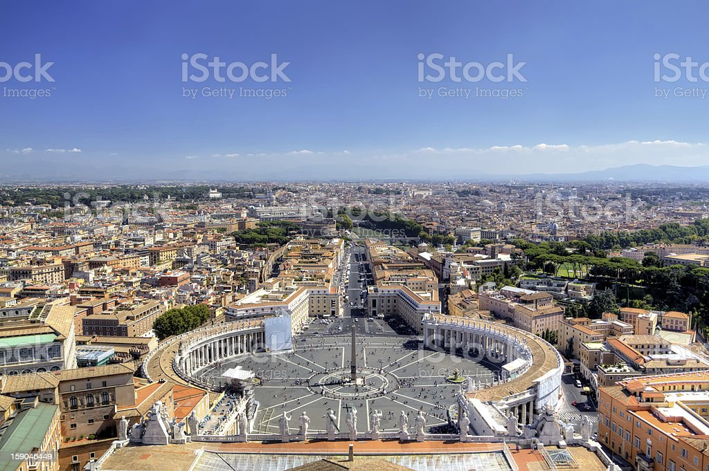 Panoramic view on St Peters Square. Roma, Italy royalty-free stock photo