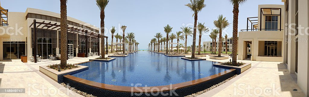 Panoramic view on swimming pool of the luxury hotel stock photo