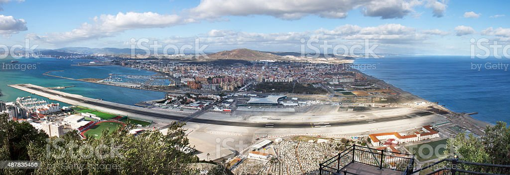 Panoramic view on the airstrip of Gibraltar stock photo