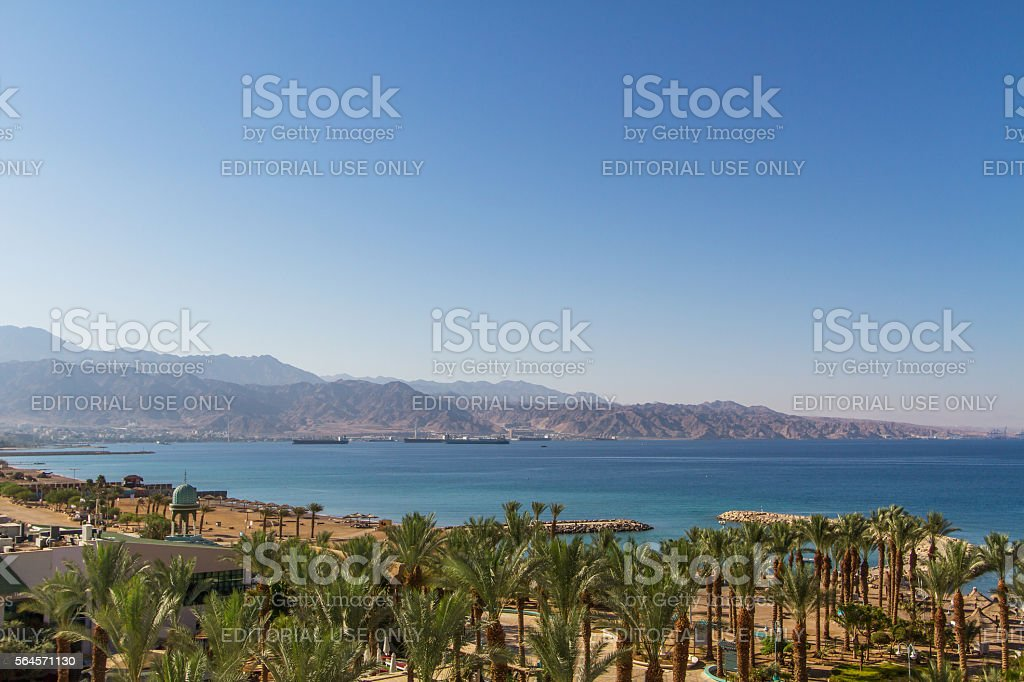 Panoramic view on the central beach of Eilat . stock photo