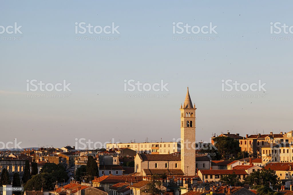 Panoramic View on the City of Pula in Istria, Croatia royalty-free stock photo