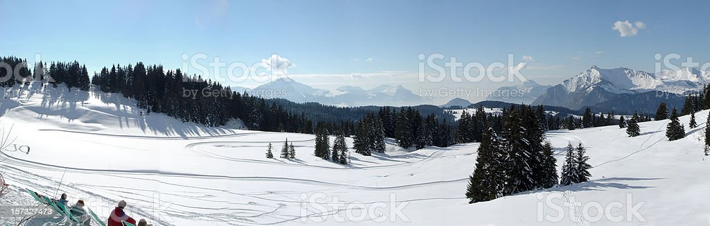 panoramic view on the French alps covered in snow royalty-free stock photo