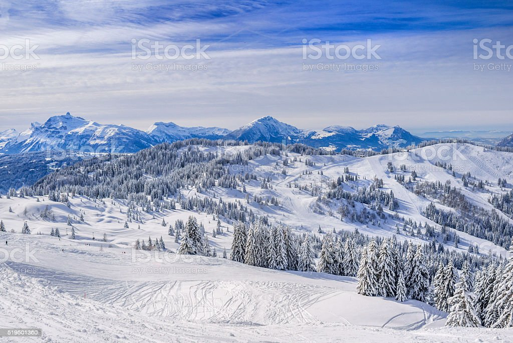 panoramic view on the French alps covered in snow stock photo