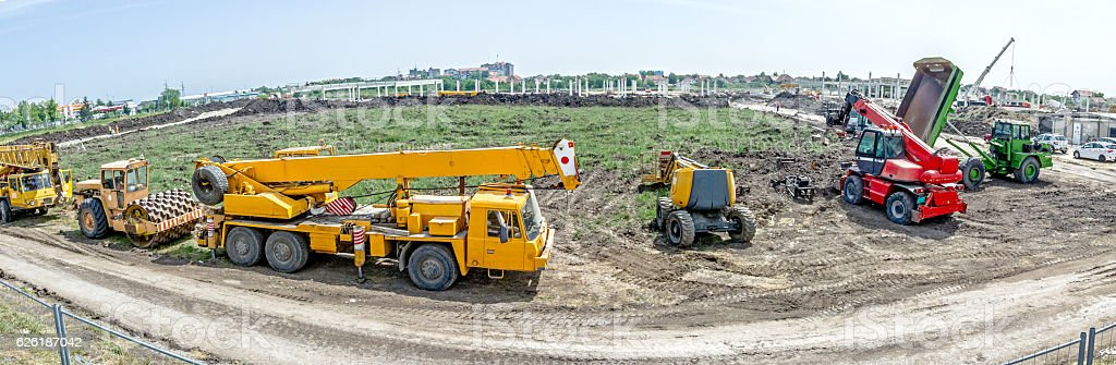 Panoramic view on the group of construction machinery. stock photo