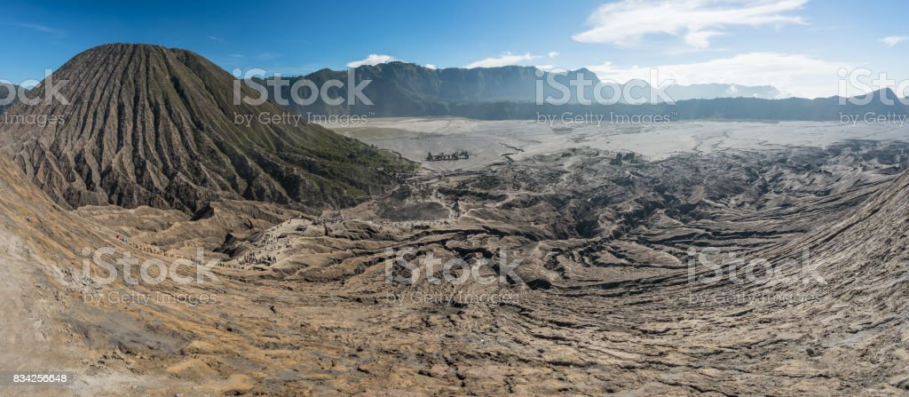 Panoramic view on top of Bromo volcano mountain crater, East Java, Indonesia stock photo