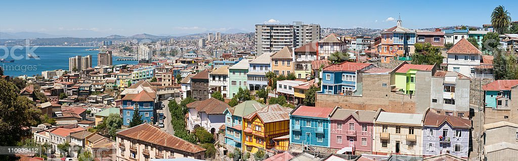 Panoramic view on Valparaiso stock photo