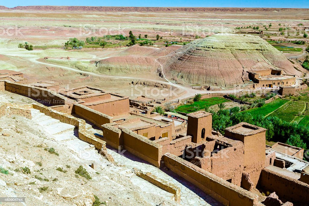 Panoramic View over Ait Benhaddou stock photo