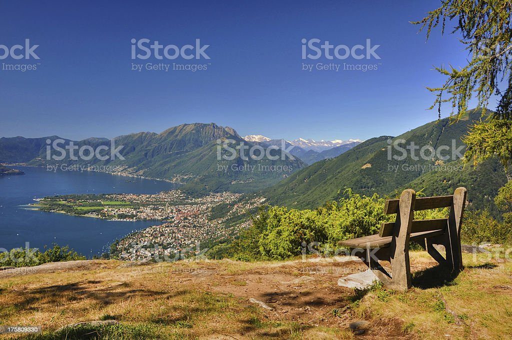 Panoramic view over an alpine lake royalty-free stock photo