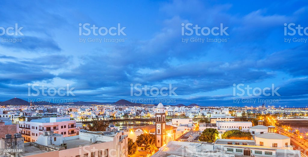 Panoramic view over Arrecife on Lanzarote at dusk stock photo
