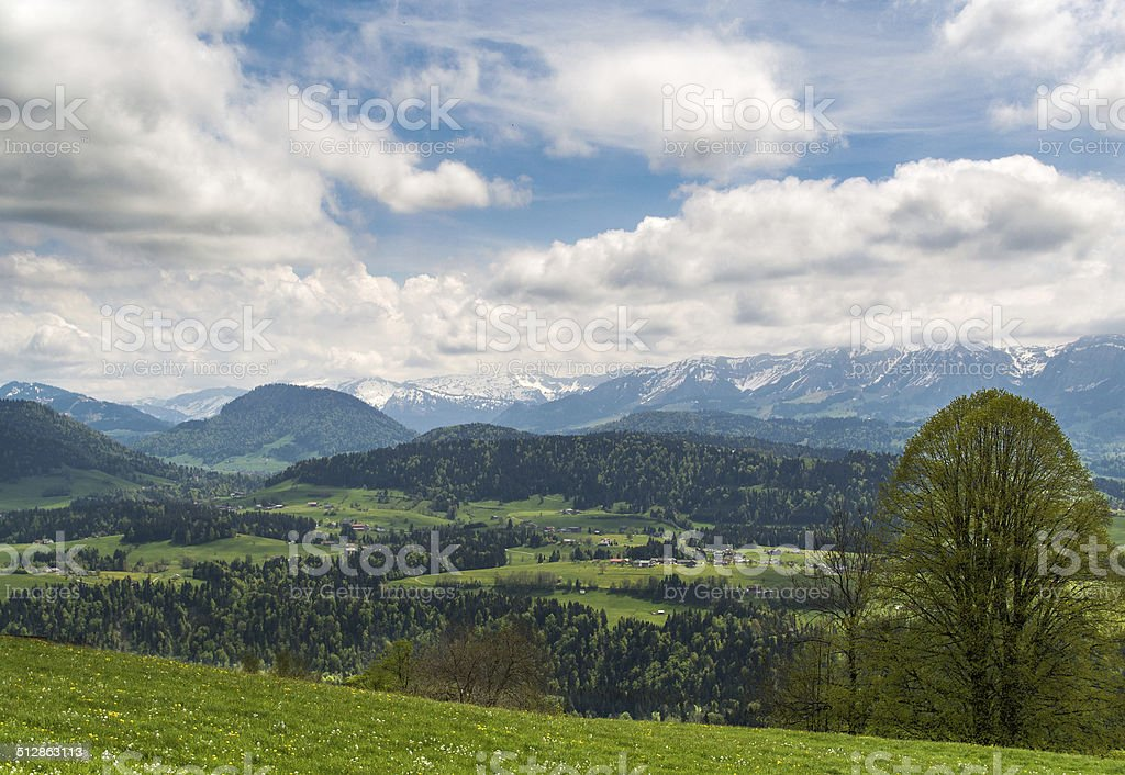 Panoramic view over Bregenzerwald stock photo