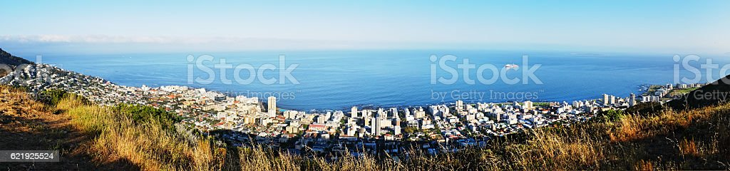 Panoramic  view over Cape Town and ocean towards Robben Island stock photo