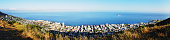 Panoramic  view over Cape Town and ocean towards Robben Island