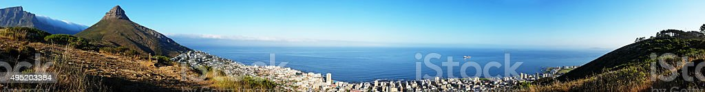 Panoramic view over Cape Town from the mountainside stock photo