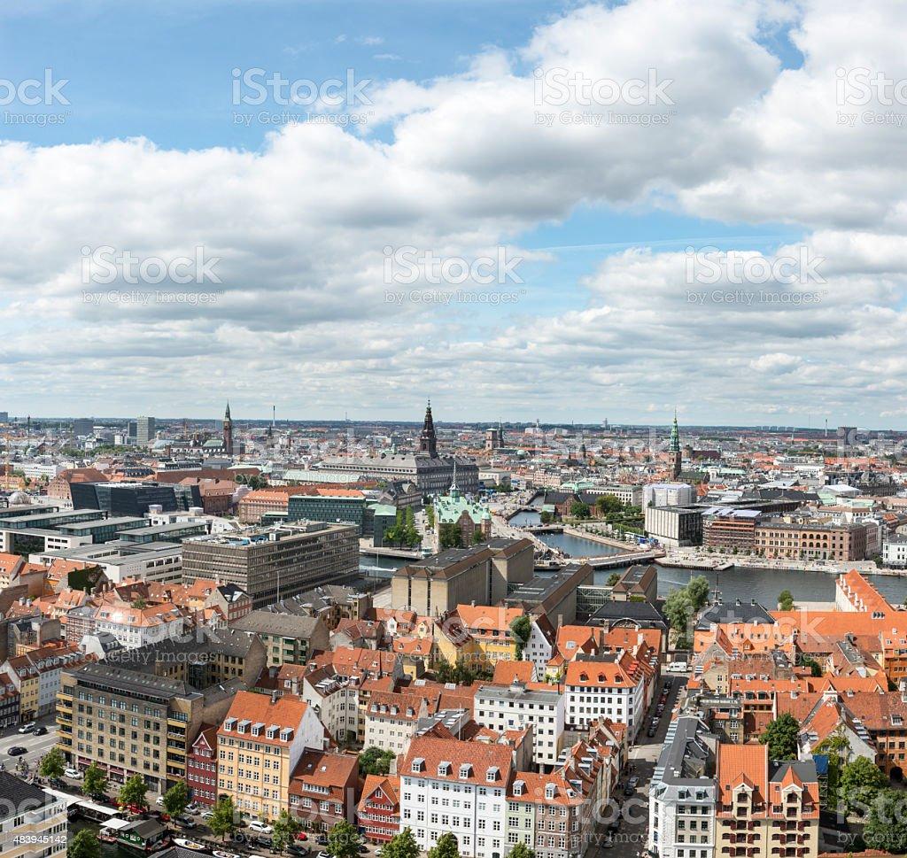 Panoramic View Over Copenhagen From Christianshavn stock photo