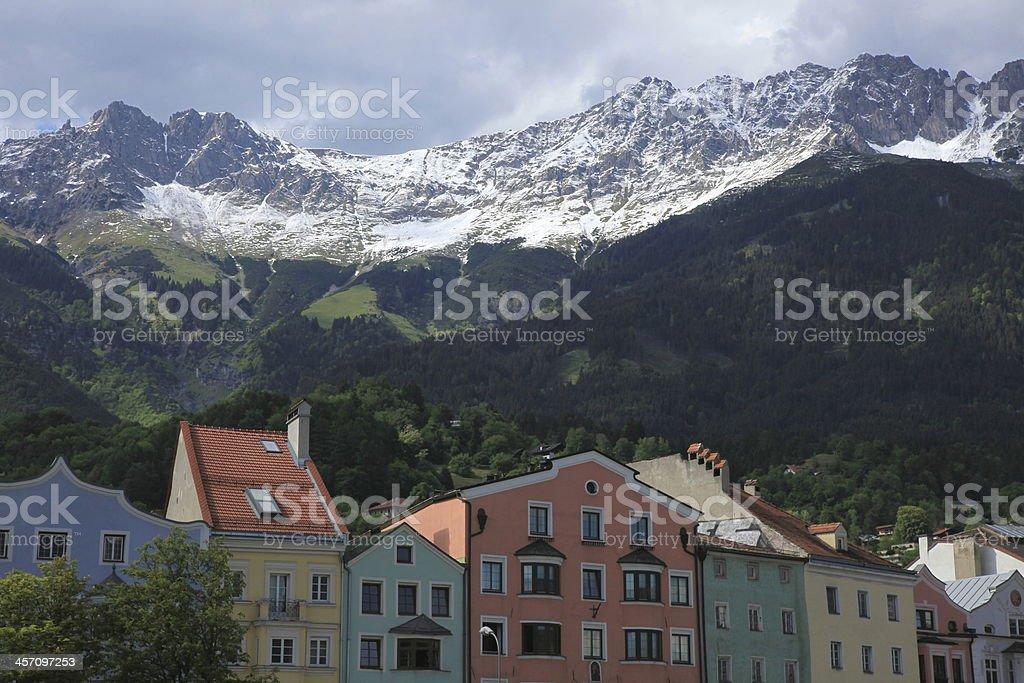 Panoramic view over Innsbruck stock photo