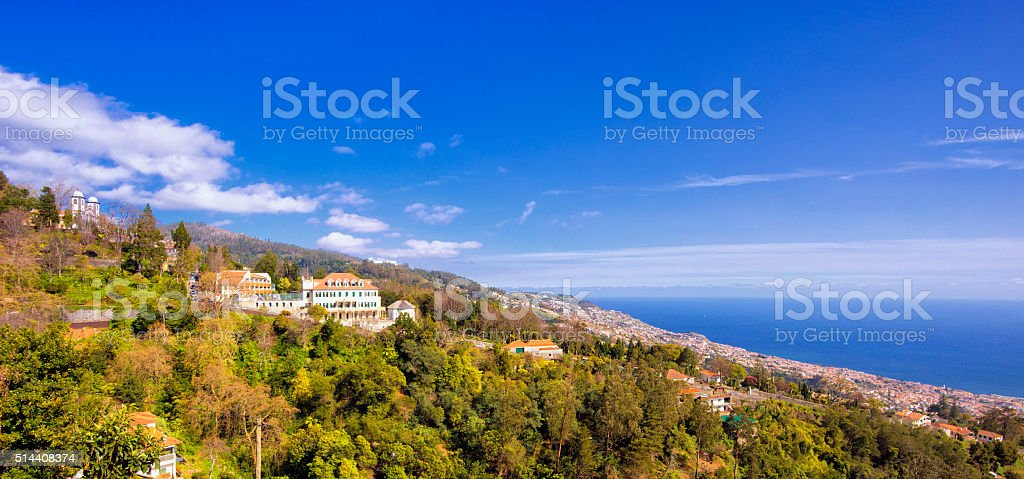 Panoramic view over Monte and Funchal on Madeira stock photo