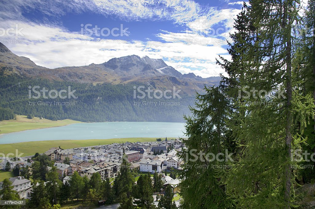 Panoramic view over mountain and a lake stock photo