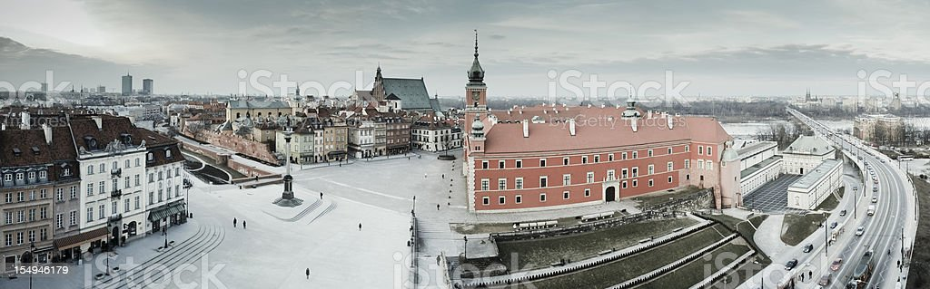 Panoramic view over Old Town in Warsaw, Poland stock photo