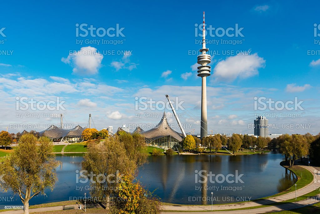 panoramic view over olympic park in Munich stock photo