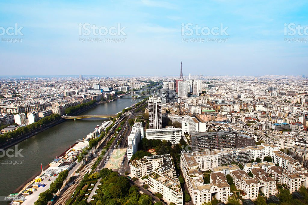 panoramic view over Paris with Eiffel tower and Seine river stock photo