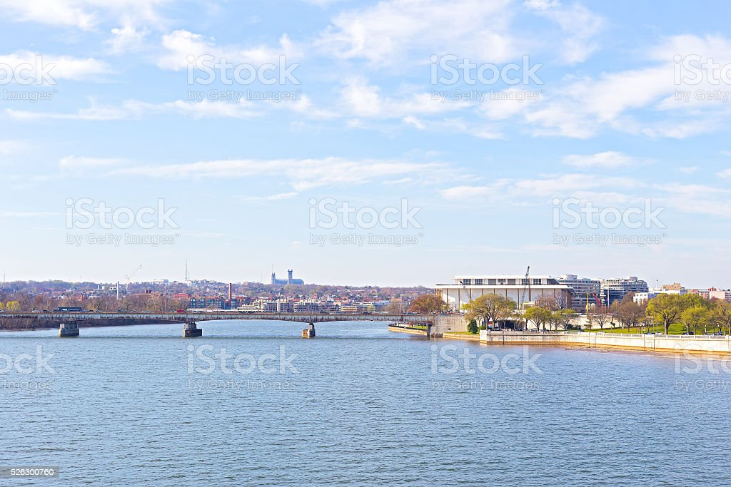 Panoramic view over Potomac river in Washington DC. stock photo