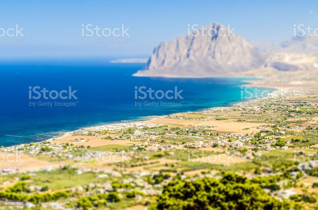 Panoramic View over Sicilian Coastline. Tilt-shift effect applied stock photo