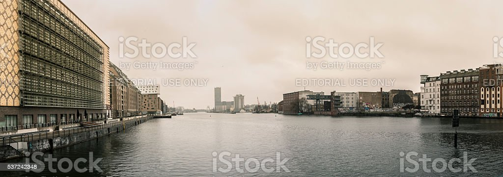 Panoramic view over Spree river from Oberbaum Bridge, Berlin, Germany stock photo