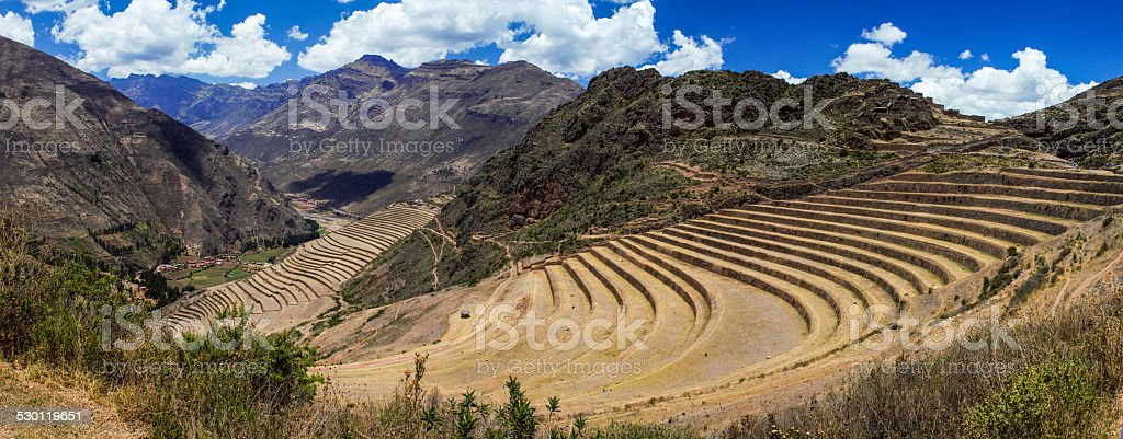 Panoramic view over the agriculture inca terraces in Peru stock photo