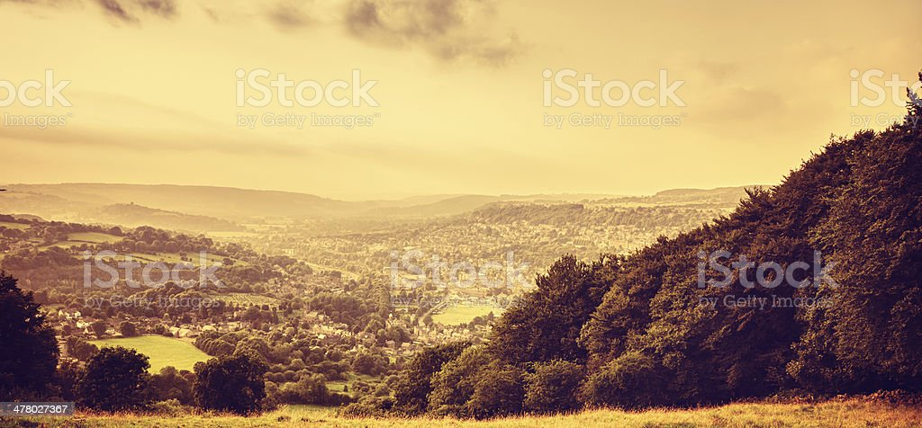 Panoramic view over the derbyshire royalty-free stock photo
