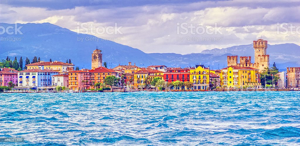 Panoramic view over the Lake Garda on Sirmione stock photo