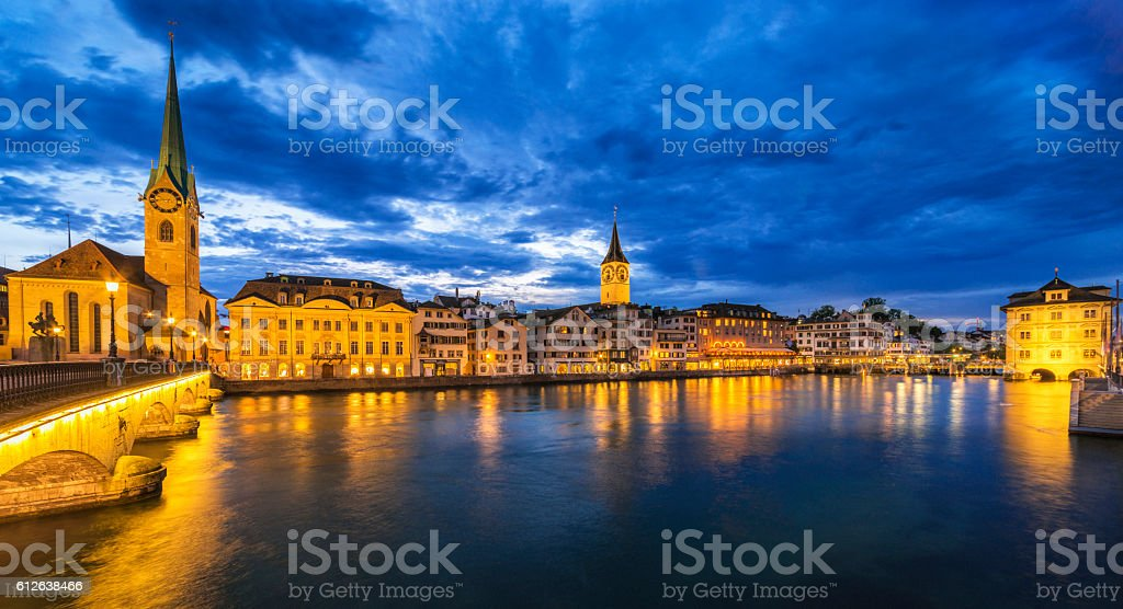 Panoramic view over the Limmat River and Old Town Zürich stock photo