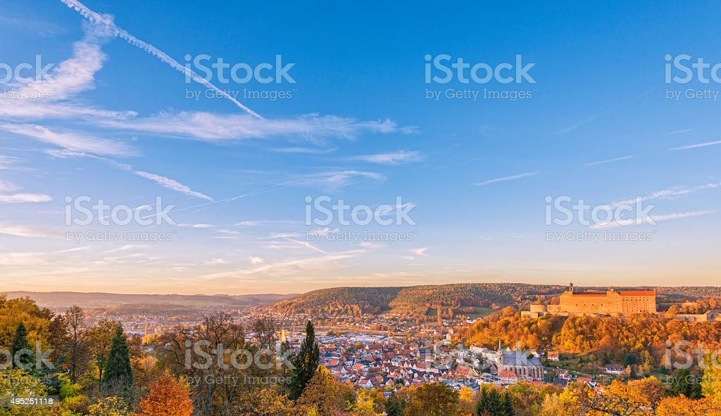 Panoramic view over the medieval city of Kulmbach stock photo