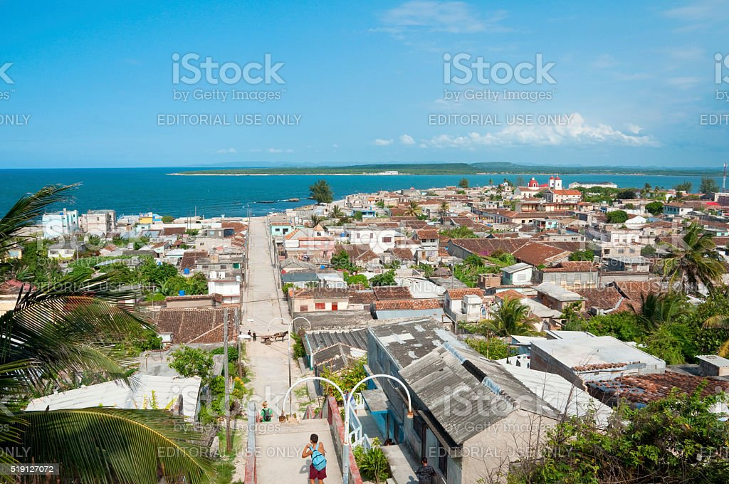 Panoramic view over the of the town of Gibara, Cuba stock photo